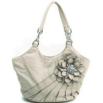 Women's Petite Flower Accented Hobo Bag W/ Rhinestone Brooch - Beige Photo