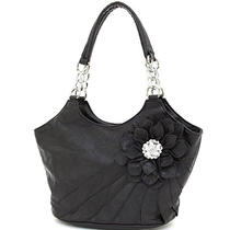 Women's Petite Flower Accented Hobo Bag W/ Rhinestone Brooch - Black Photo