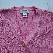 Women's Petite Small Talbots Pink Cable Cardigan Photo