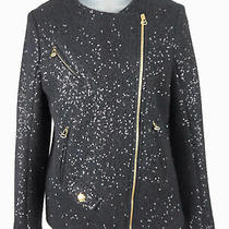 Women's Pierre Balmain Black Boucle Wool Blend Sequin Zip Up Moto Jacket Size 38 Photo