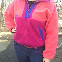 Women's Pink Blue Columbia Full Zip Fleece Radial Sleeve Sz Large. Photo
