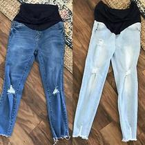 Womens Pink Blush Maternity Distressed Jeans Lot of Two Size 31 / 32 Photo