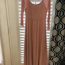 Womens Pink Blush Maternity Maxi Dress Size Large 3/4 Sleeves Photo
