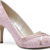 Women's  Pink Paradox London Cherie Peep Toe Pump Blush Satin/lace Size 10 M Photo