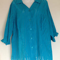 Women's Plus Blouse Shirt Sz. 1x Aqua Maggie Barnes Semi-Sheer 3/4 Sleeve Photo