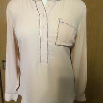 Women's Plus Lane Bryant Blush Pink Peach Black Trim Flowy Shirt Too Size 18/20 Photo