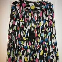 Women's Plus Liz Claiborne  Black  Multi  Print  Layered 2 Pc L/s Blouse 1x 55 Photo
