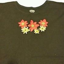 Women's Plus Size 20-22 Classic Elements Black Holiday Poinsettia Stitch Ls Top Photo