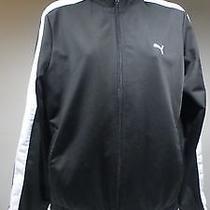 Women's Puma Athletic Jacket Black White Stripe Size L Photo