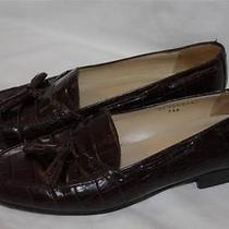 Women's Ralph Lauren Brown  Croc Leather Tassel Loafer Size 7aa Photo