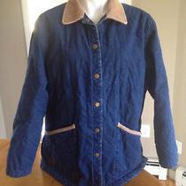 Women's Ralph Lauren Quilted Denim Jean Barn Coat Size L Photo
