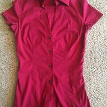 Women's Red Collared Dress Blouse Express Short Sleeve Size Small Photo