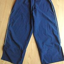 Women's Reebok Navy Blue Stretch Capri Cropped Athletic Jogging Pants Size M Photo