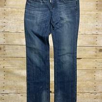 Womens Rerock Express Straight Leg Studded Stretch Denim Blue Jeans Us 8 Eur 29 Photo