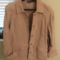 Women's Retro Vintage Gap Bohemian Stiff Linen Oversize Jacket Coat Blazer-S/m Photo