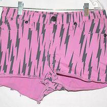 Women's Rock & Republic Pink With Black Lightning Bolts Print Denim Shorts  4 Photo