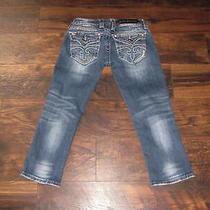Women's Rock Revival Jeans Buckle Celine Capri Size 24 Flap Pockets Denim Blue Photo