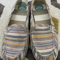 Women's Roxy Stripe Canvas Flats Casual Slip on Shoes Size 8 Photo