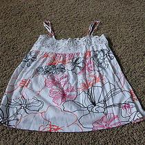 Women's Roxy Sz S White Euc W/floral Pattern Cotton Spagetti Strap Top  Photo