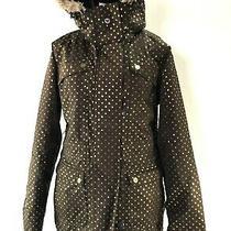 Women's Roxy Winter Sports 10000 Brown Gold Polka Dot Faux Fur Trim Coat Size M Photo