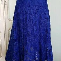 Womens Royal Blue Lace Formal Smart Skater Flared Skirt - Size Eu 38 Uk 8/10 Photo