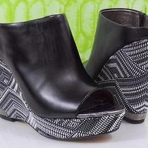 Women's Sam Edelman Kylie Open Toe Platform Wedge Mule Leather Black Size 7 Photo