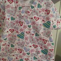 Women's Scrub - Dickies - Size Small - White With Hearts Photo