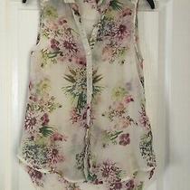 Womens Shirt/ Top h&m Pink & Green Flower Print Size 10 Photo