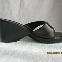 Women's Shoes 8 M Anne Klein Black Leather Wedge Thong Heels Sandals Italy Made Photo