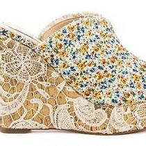 Women's Shoes Guess Benjy Platform Wedge Sandal Lace Heel White Multi Floral 8.5 Photo