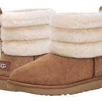 Women's Shoes Ugg Fluff Mini Quilted Suede & Sheepskin Boots 1098533 Chestnut Photo