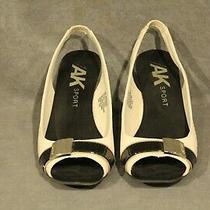 Womens Shoes-Wedge Heel-Anne Klein Slingback Black/tan-Size 10-Estate Sale 503 Photo