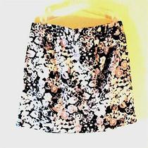 Women's Short Mini Skirt Black & White Floral Prints Gap Sz 2 100% Cotton  Photo