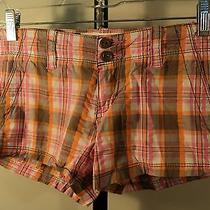 Women's Shorts Aeropostale Size 00 Cotton Plaid Brown Orange White (Bxr) Photo
