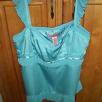 Women's Silky High End Lined Turquoise Pleated Blouse Sz 12 Top by Bandolino Photo