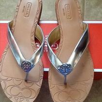 Women's Silver Coach Slippers Size 7 B  Photo