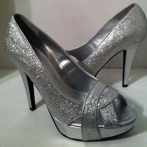 Women's Silver G by Guess Glitter Open Toe High Heel Shoes Sz 10 M Photo