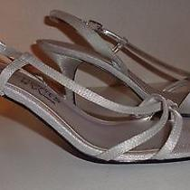 Women's Silver Satin Elements by Nina High Heel Formal Sandals Size 6.5m Photo