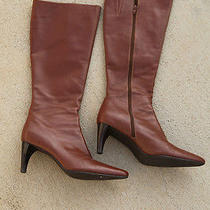 Women's Size 10m Brown Leather Tall High Heel Boots Amanda Smith Christie Rust Photo
