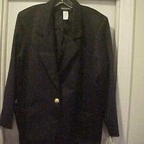 Women's Size 14 W Solid Black Blazer by Chad Stevens Long Sleeves Career Photo