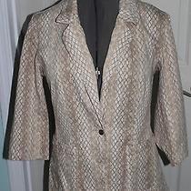 Women's Size 16 Newport News Jeanology Khaki Diamond Pattern Blazer 3/4 Sleeves Photo