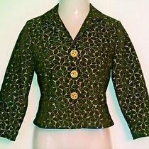Women's Size 2 Elliott Lauren Lined Blazer Jacket Black & Gold Metallic Photo
