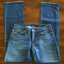 Women's Size 27 7 for All Mankind Boot Cut Jeans Stretch Blue Inseam 30  Photo