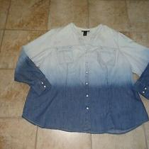 Women's Size 28 Blue Ombre Shirt by Lane Bryant Photo