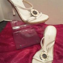 Women's Size 5 1/2 Mid Low Heel White Embellished Sandals by Bebe Tr17 Photo