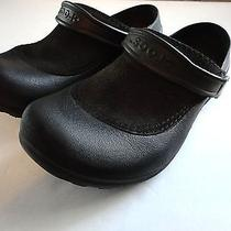Women's Size 6 Black Crocs With Suede or Faux Suede Top Photo