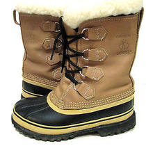 Women's Size 6 Sorel Caribou Buff/ Navy Waterproof Snow Boots Wool Cuffs Euc Photo