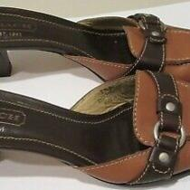 Women's Size 7.5 Coach Maddison Brown Mules Heels Slip on Shoes 7 1/2  Photo