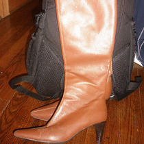 Women's Size 7 Brown Leather Tall High Heel Boots Amanda Smith Christie Rust Photo