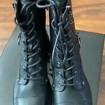 Womens Size 8 1/2 G by Guess Black Combat Boots New in Box Photo